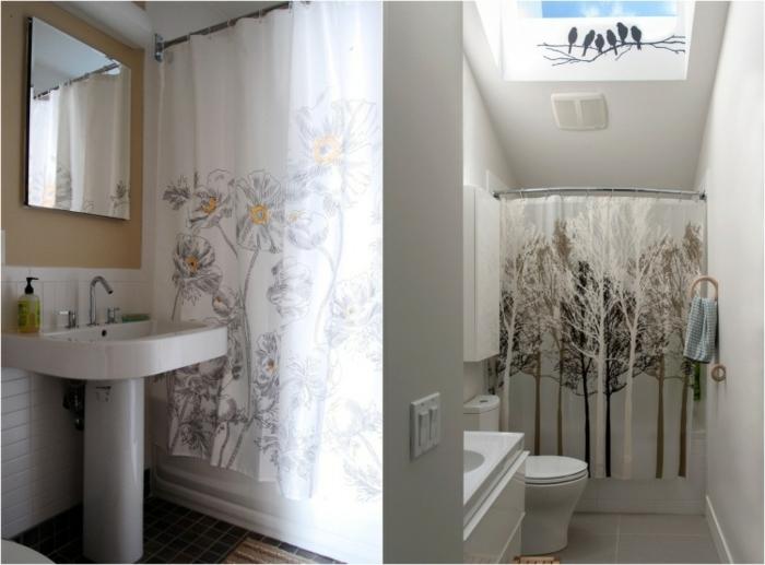 baños pequeños, cortinas originales, color blanco, ornamentos florales