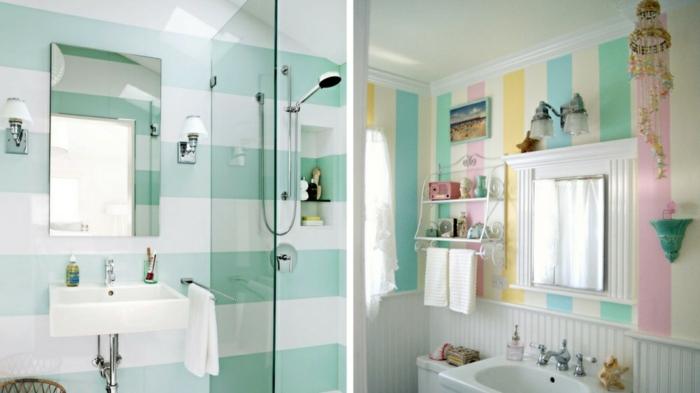 baños pequeños, paredes en rayas, colores pasteles, grandes espejos