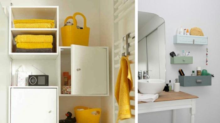 baños pequeños, estantes de madera, color blanco, acento en naranjado