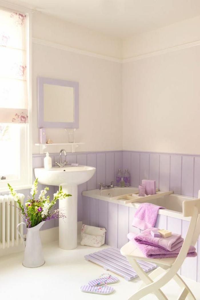 reformas de baño, como pintar un baño provenzal, color morado suave