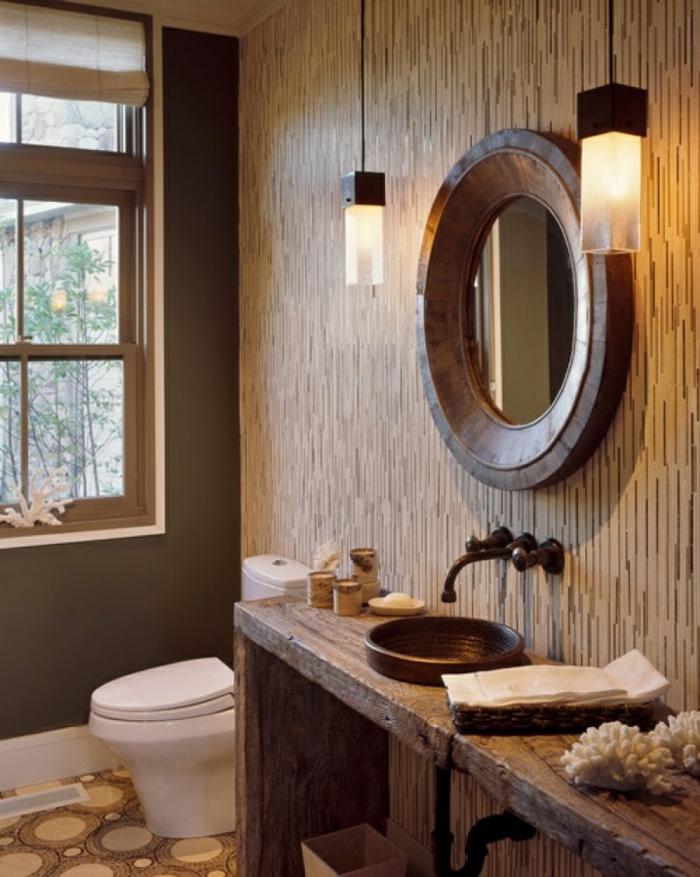 reformas de baño, hacer un baño rústico, lámparas simétricas, espejo de madera