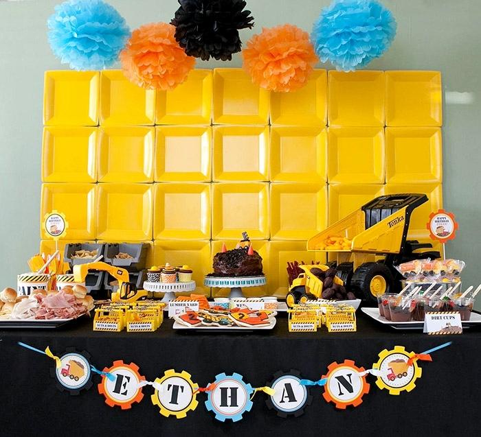 fiestas de cumpleaños, decoracion para niño en naranha tematica de ingeniero