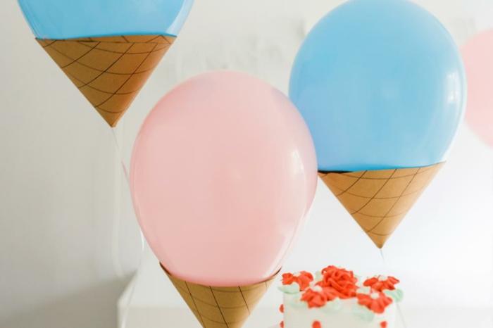 manualidades para adultos, helados hechos de papel y globol multicolor
