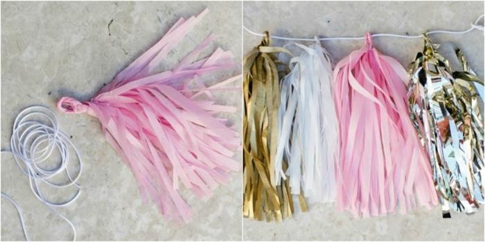 manualidades para adultos, guirnalda de papel y cuerda, como hacer paso a paso