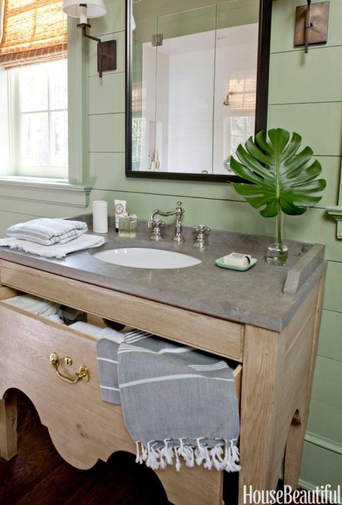 cuartos de baño modernos, lavabo redondeado, color gris, decoración planta