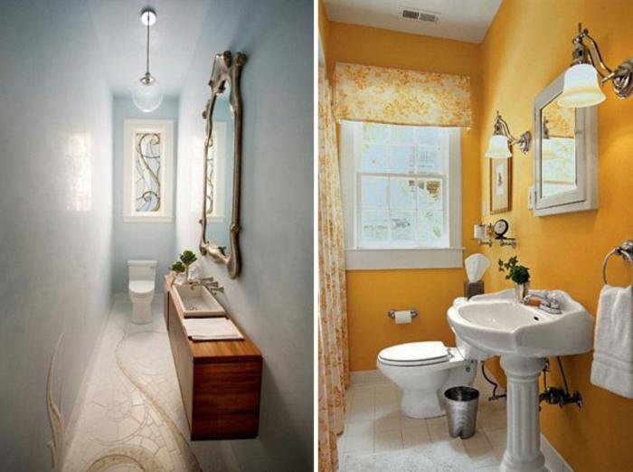 reformas de baño, baños clásicos con detalles, espejo vintage, cortinas color naranja