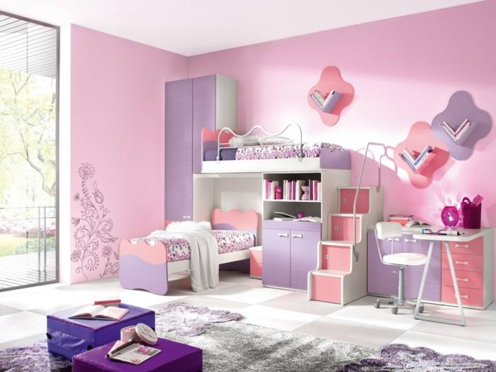 literas juveniles, habitación doble para chica en púrpura y rosado, ventanal y escritorio
