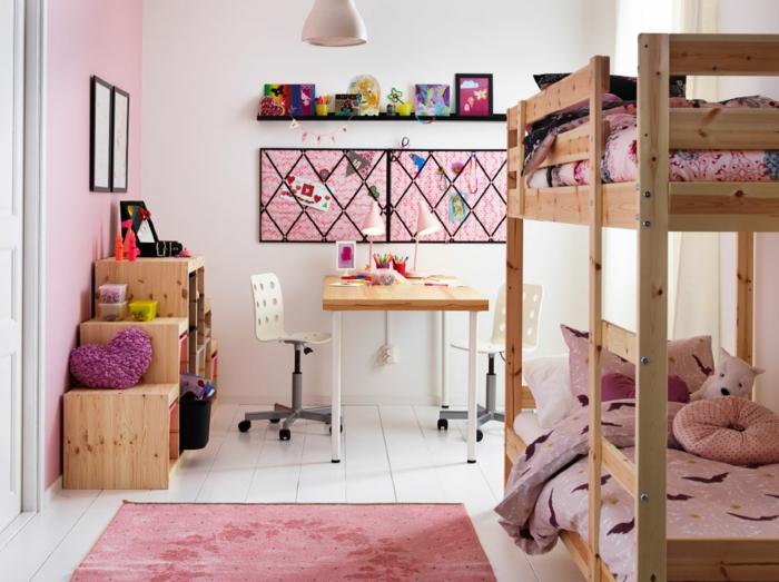 literas juveniles, habitación doble para chicas en rosado, litera doble de madera, escritorio, tapete en suelo blanco