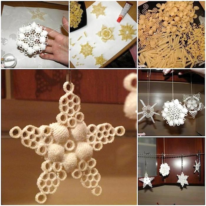 manualidades navideñas, elementos colgantes, diferente tipos de pasta