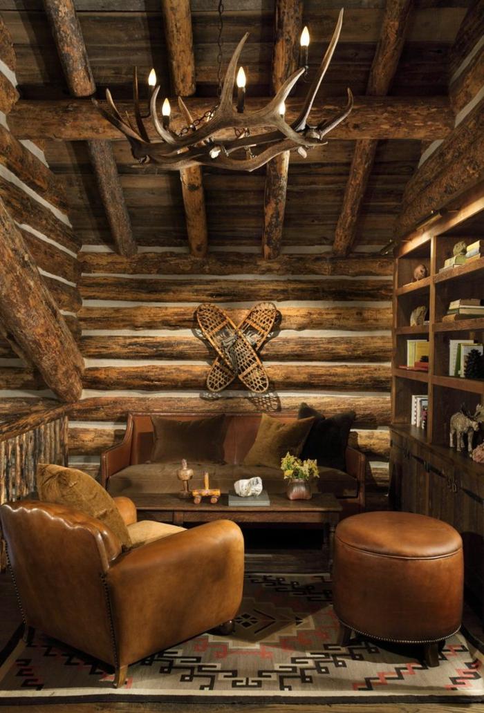 muebles salon, estilo rústico, sillones de piel, pared y techo de madera, mesa y librería