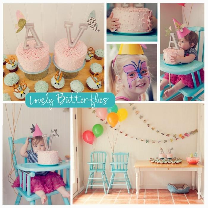 ideas para cumpleaños, decoracion cumpleaños infantil con globos, pastel y guirnaldas