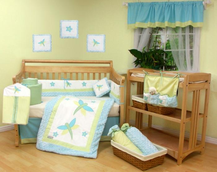 habitaciones de bebe, habitación en azul y verde con litera de madera