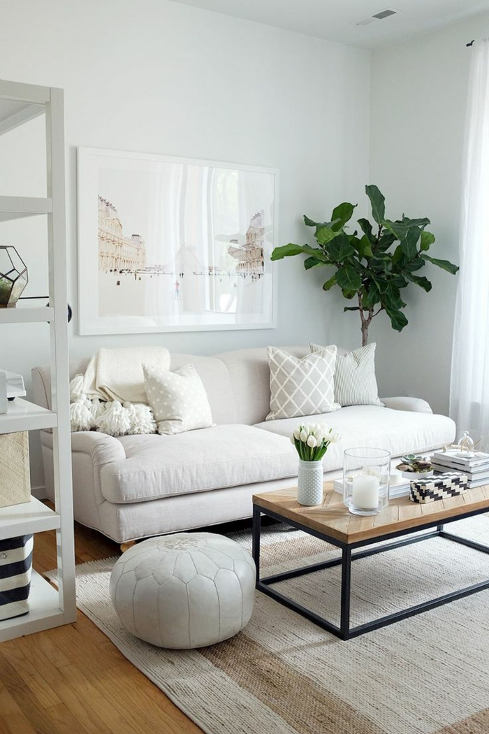 salon, salón pequeño en blanco, mesa rectangular de madea, planbta verde alta y cuadro con paisaje de Paris