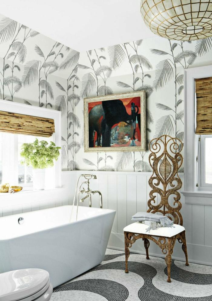 reformas de baño, baño mezcla de estilos, cuadro de pintura, elementos de madera