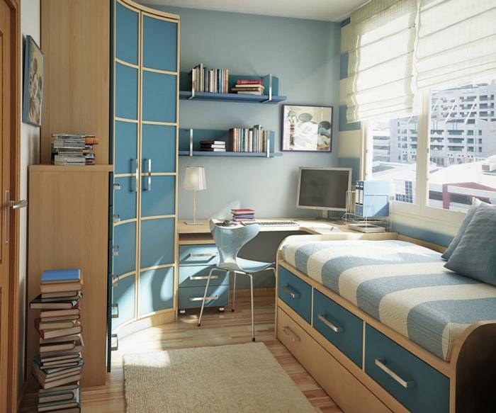 habitaciones juveniles, habitaciónpequeña en azul con armario, cama y escritorio con ordenador, tapete y libros