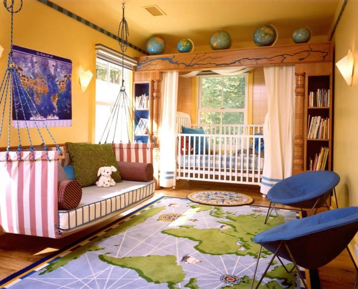 habitaciones juveniles, tapete mapa mundo, sofá columpio, sillas acapulco, litera blanca