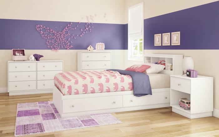 habitaciones juveniles, dormitorio en púrpura, muebles blancos, cama y decoración de pared con mariposas