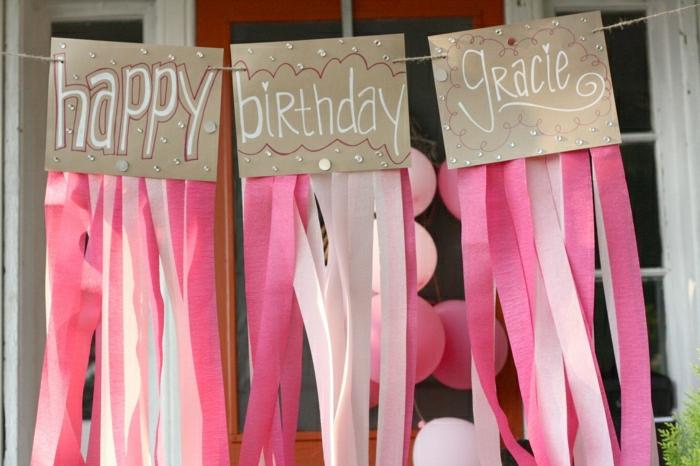 ideas para fiestas de cumpleaños, decoración en rosa, guirnalda happy birthday