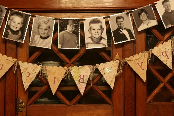 ideas para fiestas de cumpleaños, decoracion en puerta con fotos en blanco y negro