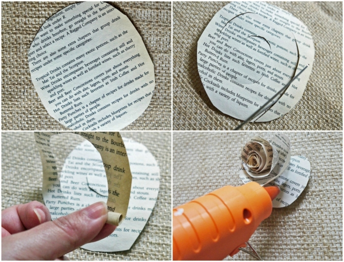 como hacer flores de papel, tutorial para hacer una rosa con papel de periódico