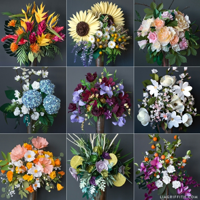 como hacer flores de papel, bouquets de flores hechos con papel
