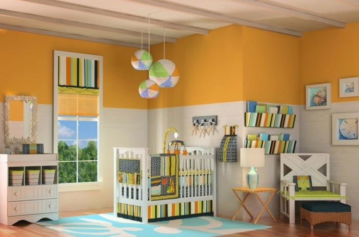 decoracion habitacion bebe, habitación en naranja con verde y azul, litera y armario, decoración con globos