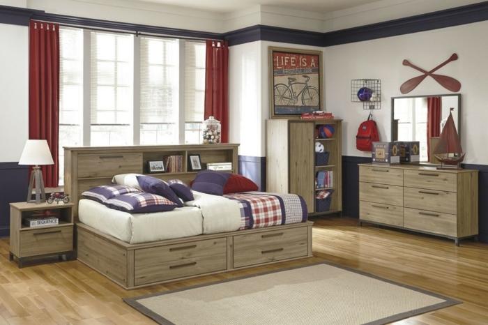 dormitorios juveniles baratos, muebles madera clara, cortinas rojas, decoración con bicicleta
