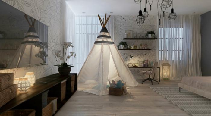 dormitorios juveniles, habitación en blanco y negro con tienda, papel pintado floral, espejo y estanterías