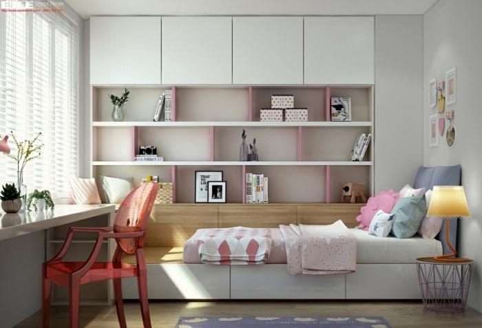 dormitorios juveniles, habitación en blanco y rosado, cama y escritorio, librería pared
