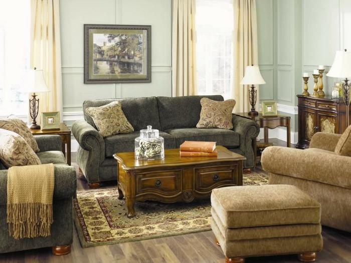 mueble salon, decoracion rustica en beige y verde pastel, mesa de madera y alfombra