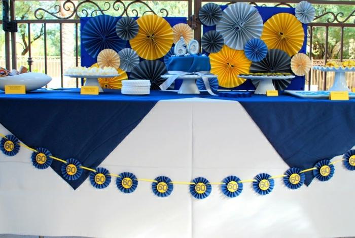 fiesta facil, decoracion de cumpleaños para adultos en azul y amarrillo
