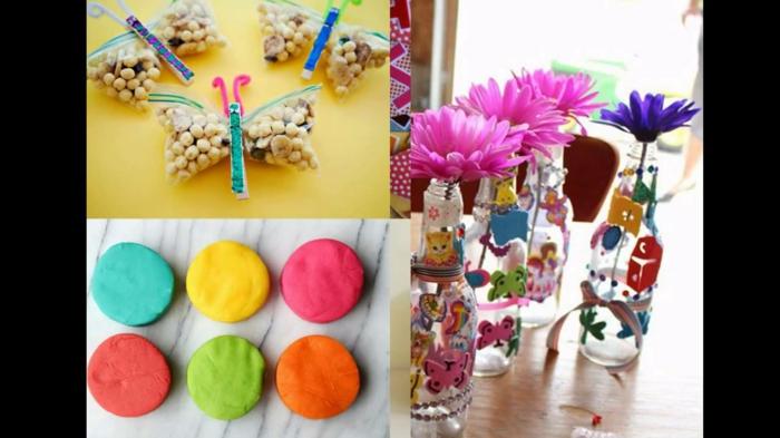 fiesta facil, decoraciones con botellas de vidrio, macarones y bolsas de frutos secos