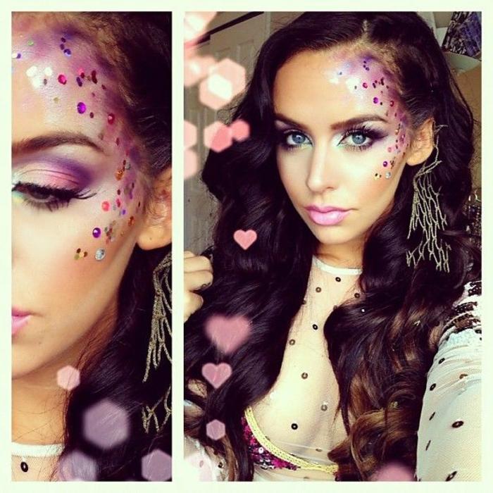 maquillaje de halloween, como maquillarse de la hada buena, lentejuelas pegadas en la cara, color rosa suave