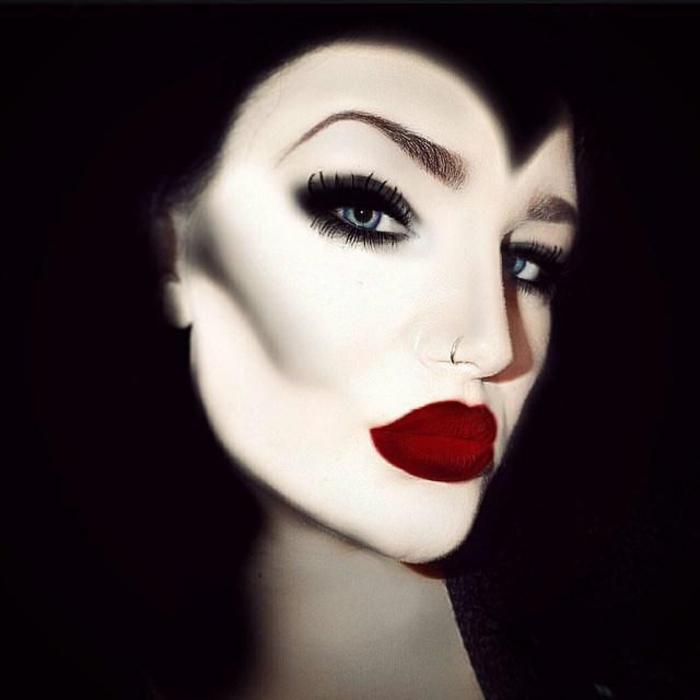 maquillaje de bruja, como conseguir el look de la mala madrastra, ficciones exagerados, labios rojos muy gruesos
