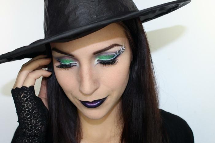 maquillaje de bruja, un look completo para halloween, hechicera clásica, maquillaje glamoroso