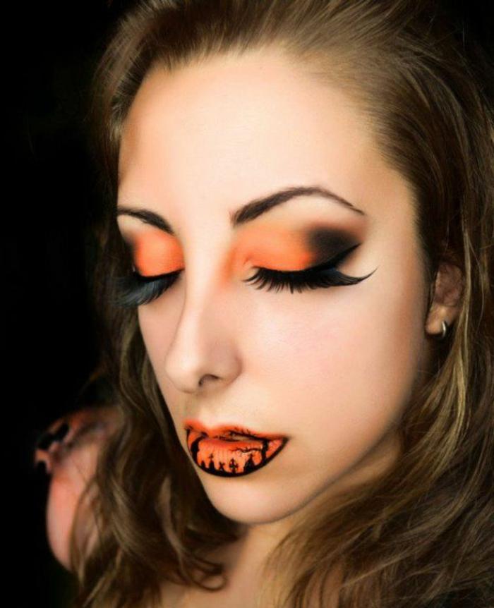 maquillaje de bruja exquisito, combinación de colores negro y color naranja, grandes pestañas postizas curvadas