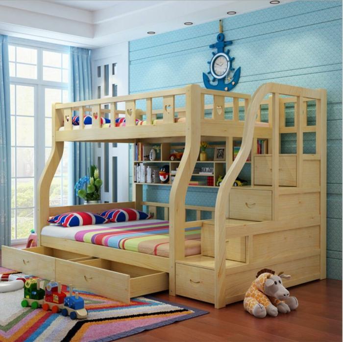 decoracion de habitaciones juveniles, habitación con litera doble madera, ventanal y cortinas, pared azul