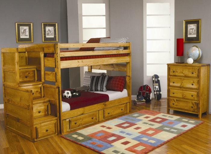 decoracion de habitaciones juveniles, habitación con litera doble de madera rústica, taète y cuadros