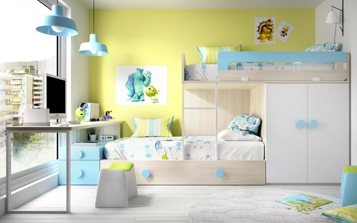 decoracion de habitaciones juveniles, habitación en azul y amarrillo, litera doble, escritorio y ventanal