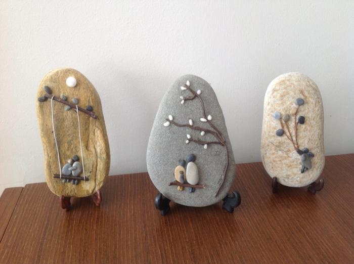 manualidades faciles, decoración con dibujos en piedras de río