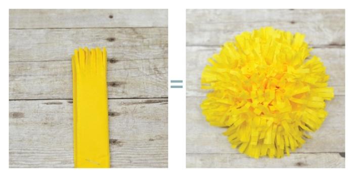 papel crêpe, como cortar papel para obtener flor con rajas amarilla