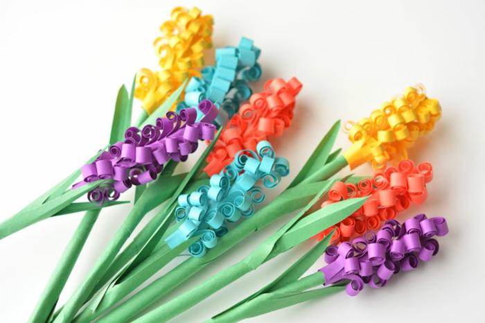 papel pinocho, flores jacintos hechos a mano de papel