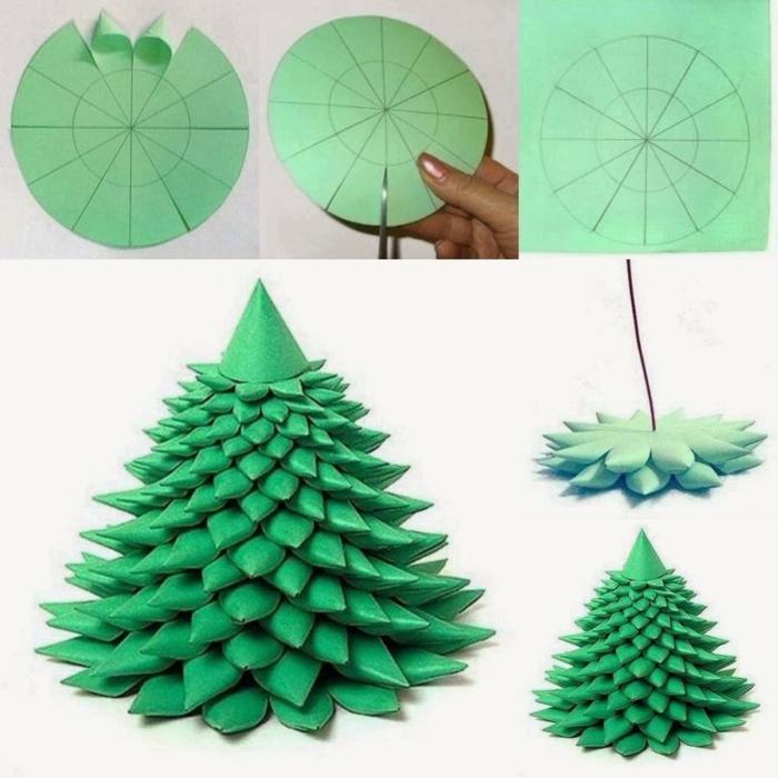 como hacer adornos de navidad, árbol de papel, en forma de cono