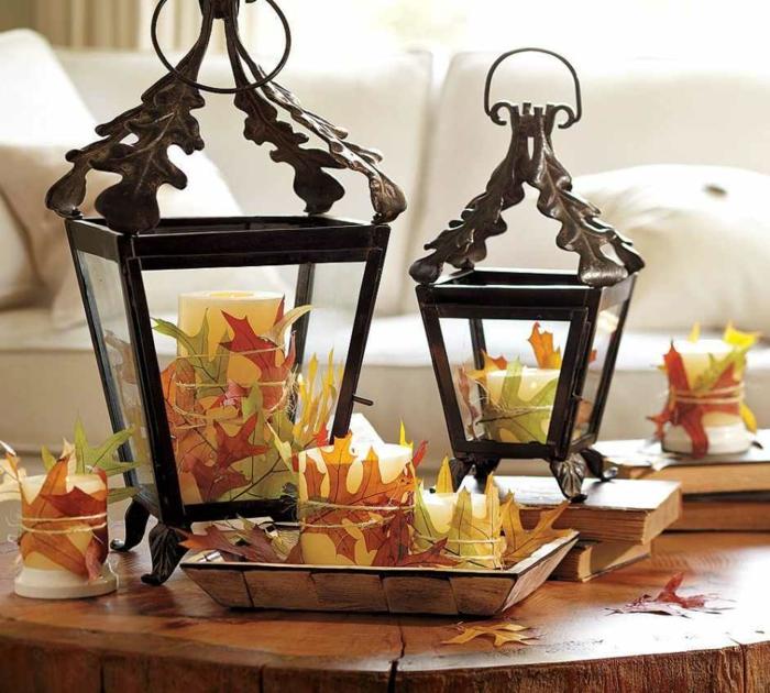 manualidades para niños, decoración de velas con hojas de otoño