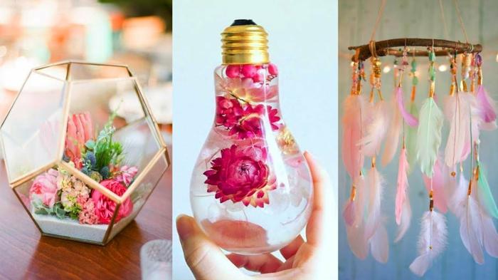manualidades paso a paso, decoraciones con flores en bombilla y plumas colgantes