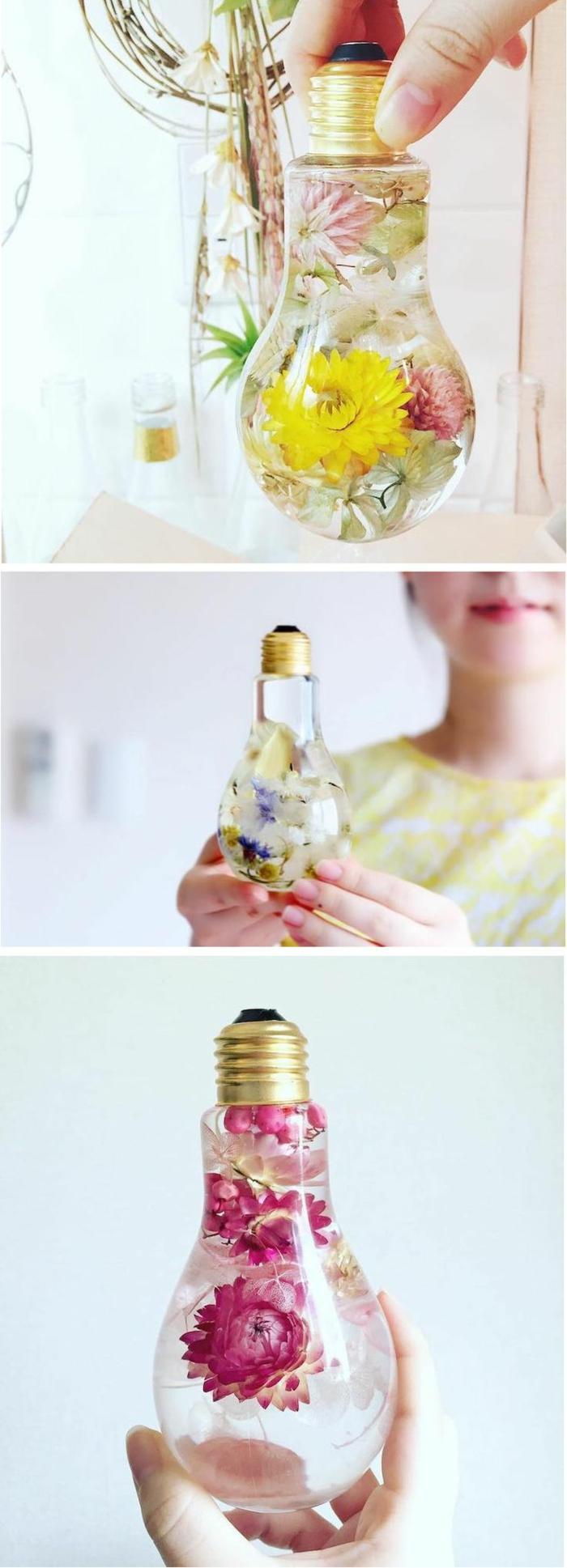 manualidades paso a paso, decoración con bombilla llena de flores