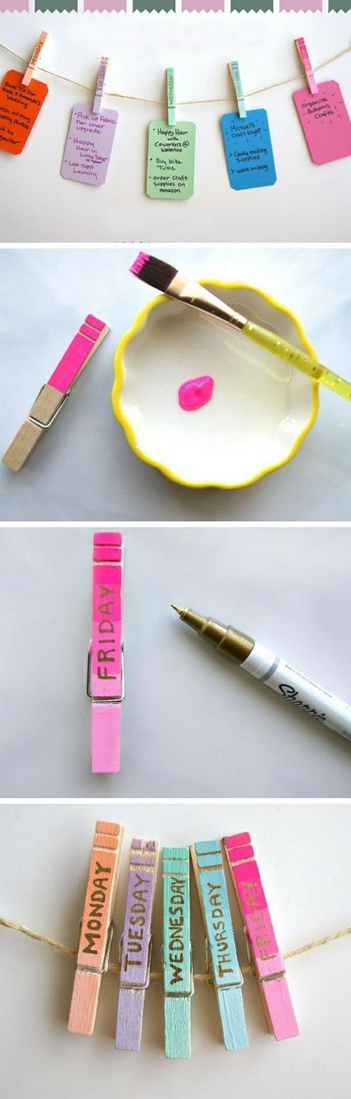 manualidades sencillas, instrucciones para hacer calendario con papel y pinzas