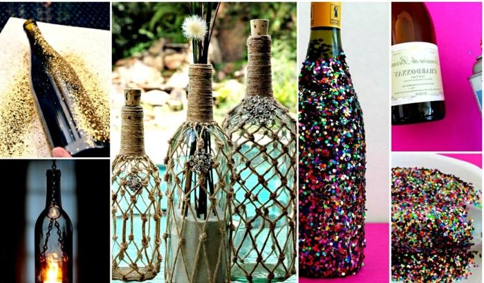manualidades sencillas, botellas de vidrio decoradas con cuerda y cuentas