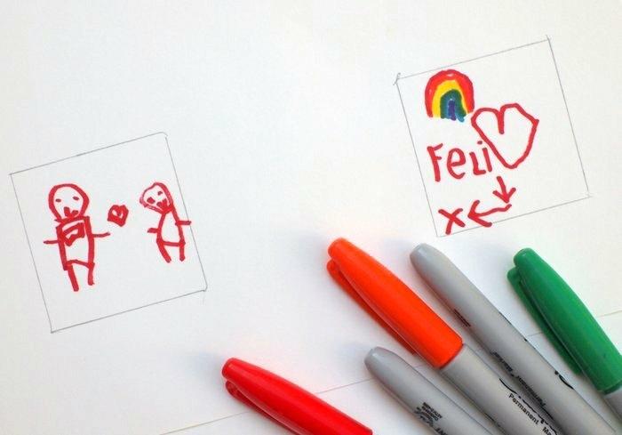 manualidades faciles para hacer en casa, dibujos infantil en marcador rojo