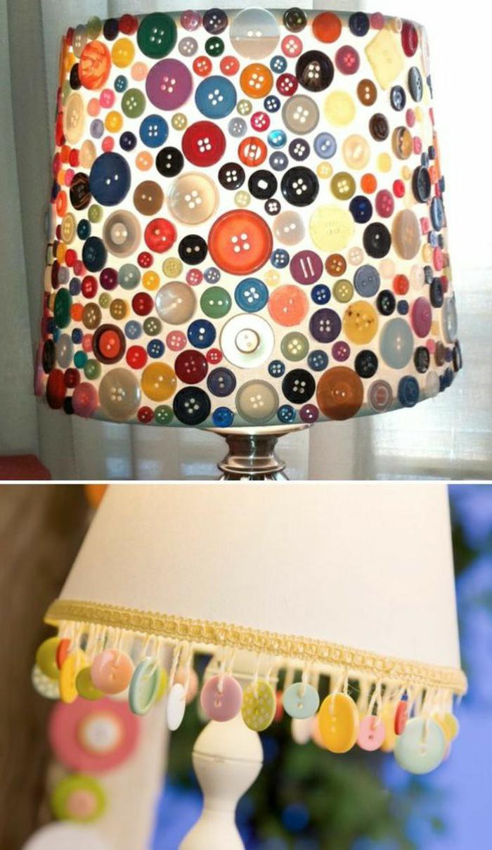 manualidades sencillas, decoración de lámpara con botones